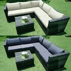 6 Seater Rattan Garden Corner Sofa Table & Chair Furniture Set Outdoors Lounge