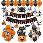 Happy Halloween Party Balloons Banner Bunting Trick or Treat Decors Decoration