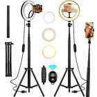 2in1 Selfie Tripod Stick LED Ring Light +360°Rotate Phone Holder for Makeup Live