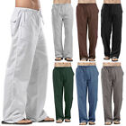 Casual Men's Drawstring Straight Pants Loose Cotton Linen Trousers Beach Pants