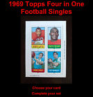 1969 Topps 4-in-1 Football Singles ... Choose Your Card ... Complete your set!