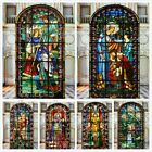 Frosted Static Window Film Retro Church Stained Glass Stickers Translucent Decor
