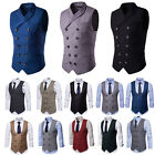 Men's Double Breasted Dress Suit Formal Business Wedding Party Vest Waistcoat
