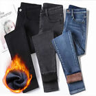 Women Fleece Lined Denim Pants Jeans Stretch Trousers Winter Leggings Thick Pant