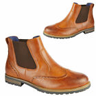 MENS CHELSEA BOOTS NEW DEALER ANKLE SMART BROGUE FORMAL FAUX LEATHER WORK SHOES