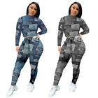 New Fashion Women's Long Sleeve Printed Pockets Bodycon Casual Outfits 2pcs