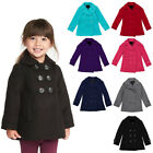 Girls Fleece Double Breasted Button Polyester Solid Winter Pea Coat Jacket