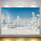 Snowfield Scenery Winter Backdrop Snowy Wonderland Pines Photography Background
