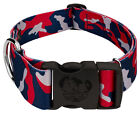 Country Brook Petz® 1 1/2 Inch Deluxe Navy Blue and Red Camo Dog Collar