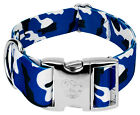 Country Brook Petz® 1 1/2 Inch Premium Royal Blue and White Camo Dog Collar