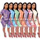 New Women Casual Short Sleeve Tie-dyed Print Fashion Sporty Leisure Outfits 2pcs