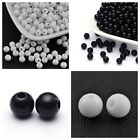 75-175+ Smooth Opaque Black or White Acrylic Round Beads 6-8-10mm USA
