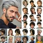 Mens Daily Natural Short Straight/Curly Wavy Hair Wig Male Cosplay Party Wigs US
