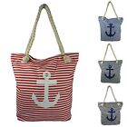 Beach Bag Stripes Anchor Shoulder Bag Denim Cloth Bag 1604