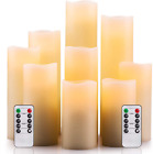 Flameless Candles LED Battery Operated Candles Set of 9 Real Wax Pillar, Remote