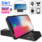 Wireless 3in1 Qi Charger Station Charging Dock Stand For Air Pods iPhone iWatch