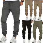 Mens Cargo Combat Trousers Elastic Waist Tracksuit Bottoms Casual Cuffed Pants