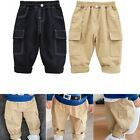 Toddler Baby Boys Casual Pants Summer Soft Overalls Elastic Waistband Trousers
