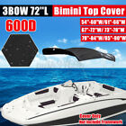 """3 Bow BIMINI TOP Boat Replacement Canvas Cover 54""""-90""""W 6ft Long No Frame Black"""