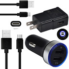 For Moto G6 G7 Plus Z3 Z2 Force ZTE Zmax Pro Car Wall Plug Charger USB C  Cable