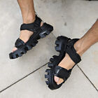 ByTheR Leather Sandals With Weaved Rubber Sole Black