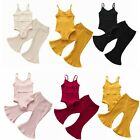 Toddler Baby Girls Casual Outfits Sleeveless Romper Bell Bottom Flared Pants Set