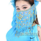 BELLY DANCE COSTUME FACE VEIL GOLD BEADS SEQUINS 8 CLRS