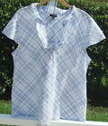 TALBOTS WHITE BLUE PLAIDS MULTI CAP SLEEVE CASUAL COTTON SHIRT TOP BLOUSE L NEW