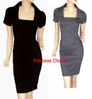 NEW Grey Pencil Dress Button SZ 8 10 12 14 16 18 20 22