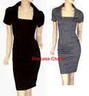 NEW Grey Black Pencil Dress Button Size 8 10 12 14 16 18 20 22