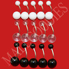 V075 Acrylic Belly Naval Ring Barbell White Black Clear 5 10 15 Retainer Rings