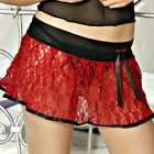 Red Crinkle Lace Lingerie Mini Skirt with Black Mesh Waist #FRMS