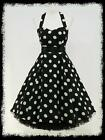 dress190 CHIFFON BLACK POLKA DOT 50's ROCKABILLY SWING PROM VINTAGE DRESS 8-26