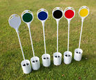 White Fibre Glass Golf Putting Green Flag With Coloured Disc and Hole Cup