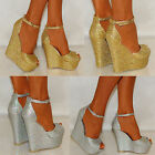 LADIES WOMENS SILVER GOLD SPARKLY HIGH WEDGES PARTY PEEP TOE SHOES SIZES 4 5 6 7