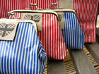 Striped Clasp Purse with Union Jack Heart Label- PVC - Linen Lining -  Red  Blue