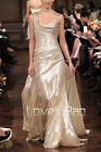 2014 Hot Runway Gold Ruched One Shoulder Prom Party Gown Long Ball Evening Dress