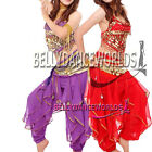 3 PC BELLY DANCE COSTUME SET TOP HAREM GENIE PANTS HIP SCARF COIN BELT BOLLYWOOD