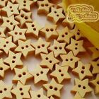 Star 11mm Wood Buttons Sewing Scrapbooking Craft NCB009