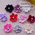 Mixed Polyester Ribbons Floral With Bead Sewing Scrapbooking Appliques JM9B
