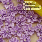 Purple Polyester Ribbons Floral With Bead Sewing Scrapbooking Appliques JM9B