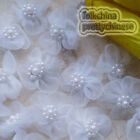 White Soft Organza Flower With Cluster Beads Sewing Scrapbooking Appliques JM9O