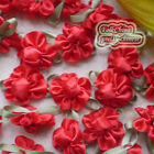 Red Satin Bud Flowers 20mm Sewing Scrapbooking Trim Craft JMBX