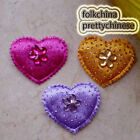 Mixed Heart Rhinestone Appliques Padded Craft Sewing Scrapbooking Trim APQK
