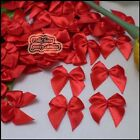 Red Satin 20mm Bows Satin Ribbons 10mm Appliques Scrapbooking Cardmaking