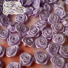Purple Satin Ribbon Roses 15mm Appliques Scrapbooking Sewing Craft JMSR07