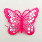 Fuchsia Butterfly Paillette Sequin Iron On Patch 7cm M0034