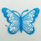 Lake Blue Butterfly Paillette Sequin Iron On Patch 7cm M0034