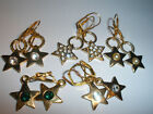 Star Earrings 4 Stone Colors Gold Plated Leverback Dangle With Swarovski Crystal