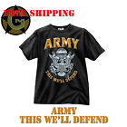 Tee Shirt Black Ink Design ARMY This we'll Defend 100% Cotton New T Small-2XL